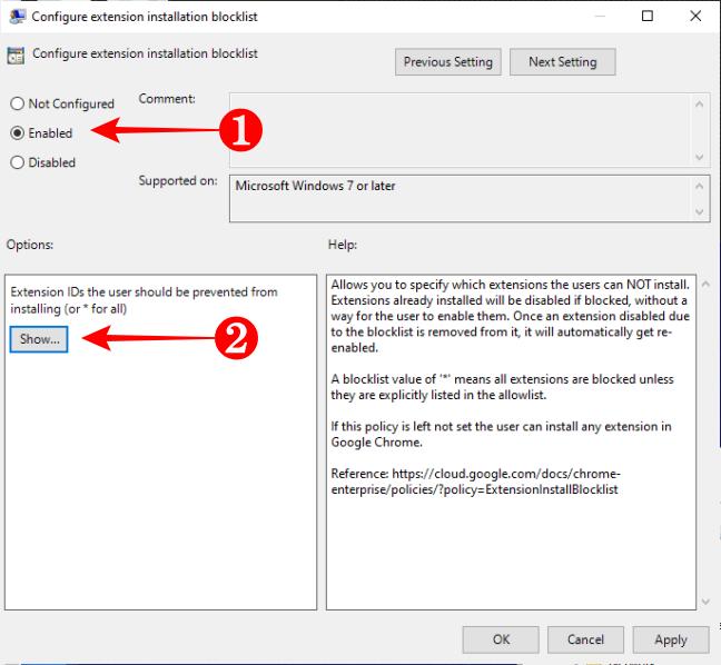 Enable the Configure Extension Installation Blocklist