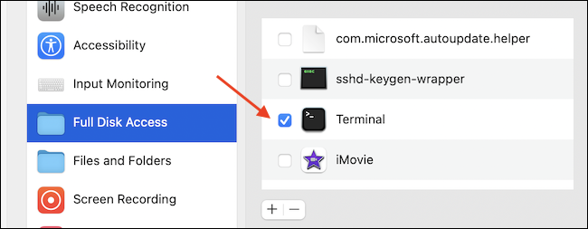 Enable full disk access for Terminal app