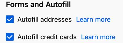 Enable Autofill settings in Firefox