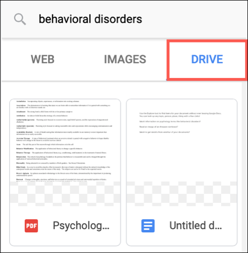 Click Drive to see Google Drive items