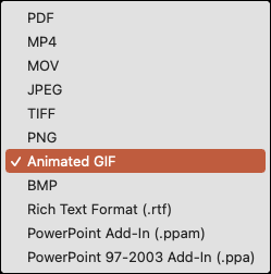 Щелкните Формат файла и выберите Анимированный GIF.