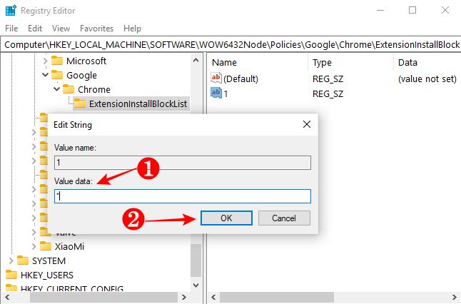 Adding an asterisk to ExtensionInstallBlocklist's String Value