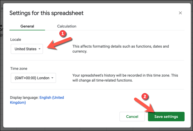 """In the """"Settings For This Spreadsheet"""" menu, change the """"Locale"""" value to another location with a different date format to your own, then press """"Save Settings"""" to save the changes."""