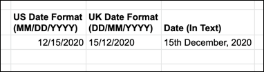 An example of UK and US date formats in Google Sheets.