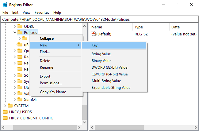 Make new Google subkey in the Registry Editor