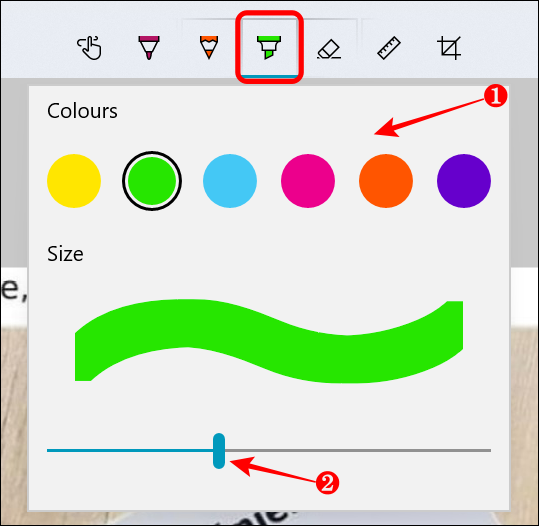 Highlight options in Snip & Sketch