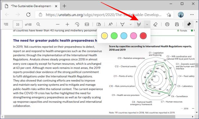 Выделение параметров цвета инструмента на панели инструментов PDF в Microsoft Edge