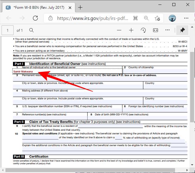 Форма PDF с выделенными полями в Microsoft Edge
