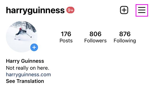 instagram menu highlighted