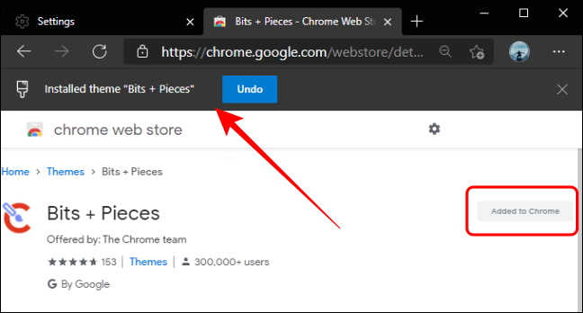 Installed Theme Message Banner in Edge