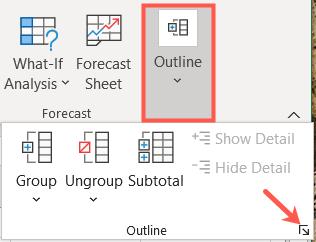 Перейдите в Данные, Структура и щелкните средство запуска диалогового окна.