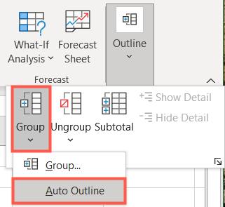 Нажмите Group, а затем Auto Outline.