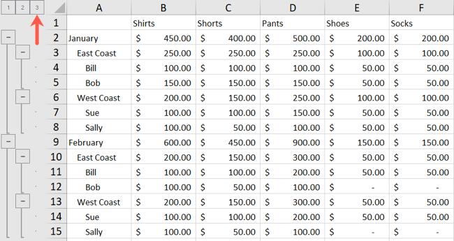 Схема Excel, уровень 3