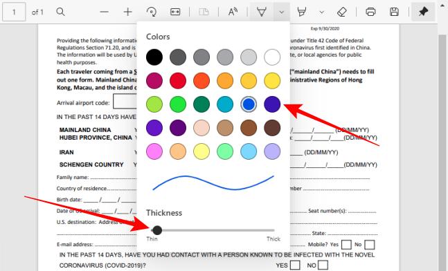 Выберите цвет и настройте толщину инструмента «Перо» на панели инструментов PDF в Edge.