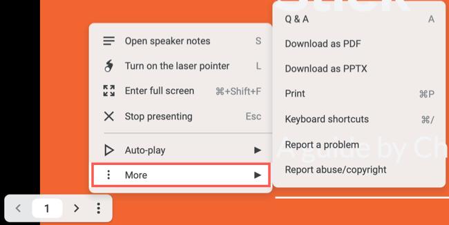 Presenter Toolbar More options