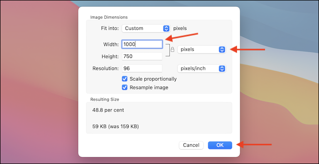 Select the Pixels option, and then reduce the Width to resize the image.