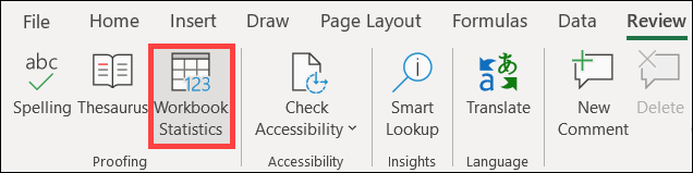 Click Workbook Statistics on the Review tab