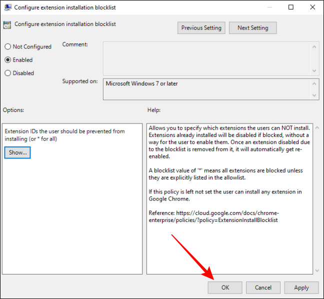 Save Settings for Configure Extensions installation blocklist