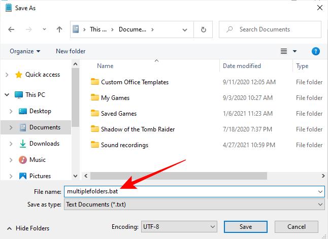 Save As .bat file in Windows Explorer