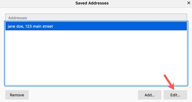 Edit a saved address