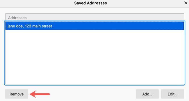 Remove a saved address