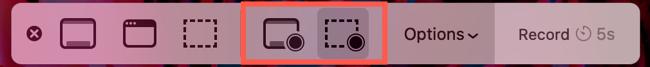 Select a screen recording button