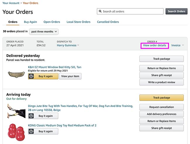 amazon orders list