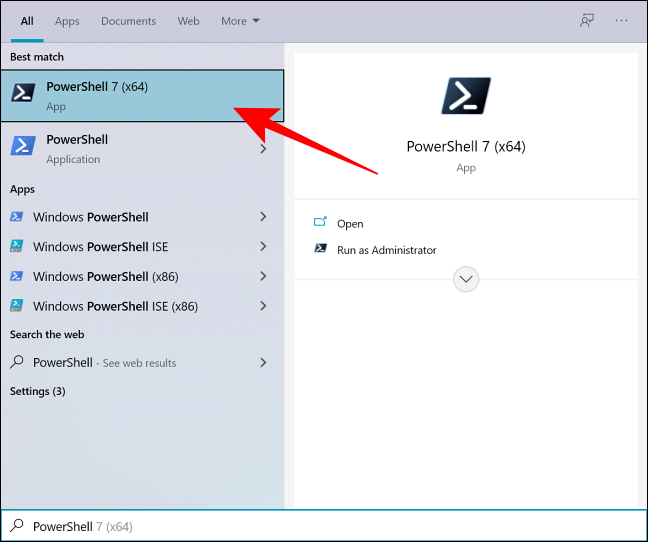 Search PowerShell in Windows Search