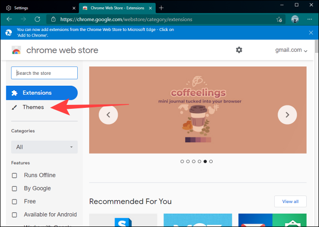 Select Themes Section in Google Chrome Web Store