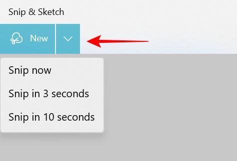 Snip timer option in Snip & Sketch