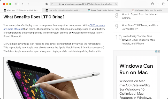 A web page in Safari using the default (12-point) font size.