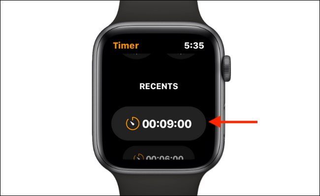 Use A Recent Custom Timer on Apple Watch