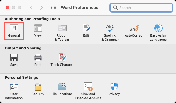 Click General in Word Preferences