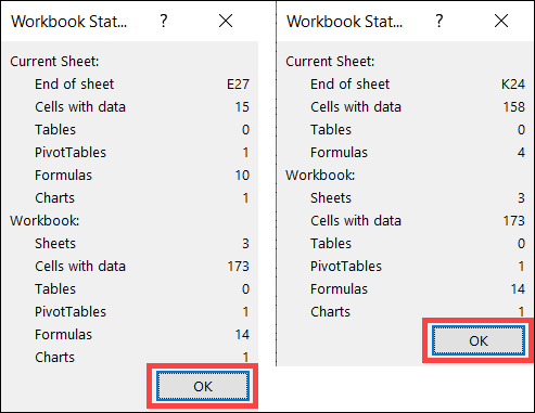 Workbook statistics for two sheets