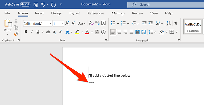 Add three asterisks in a new document in the Word window.
