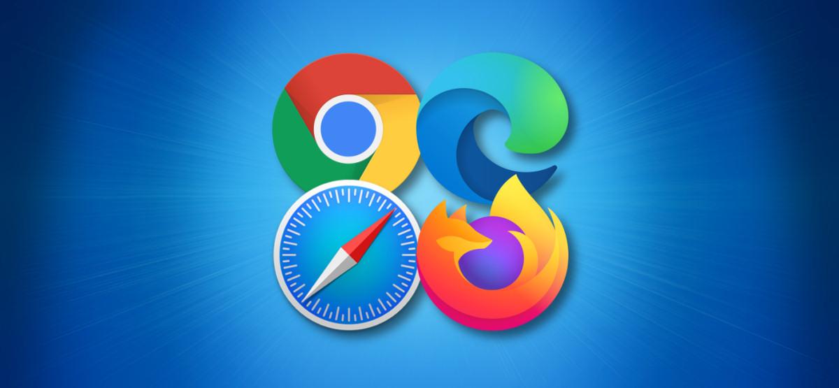 Four Major Browsers: Chrome, Edge, Safari, and Firefox Logos on Blue