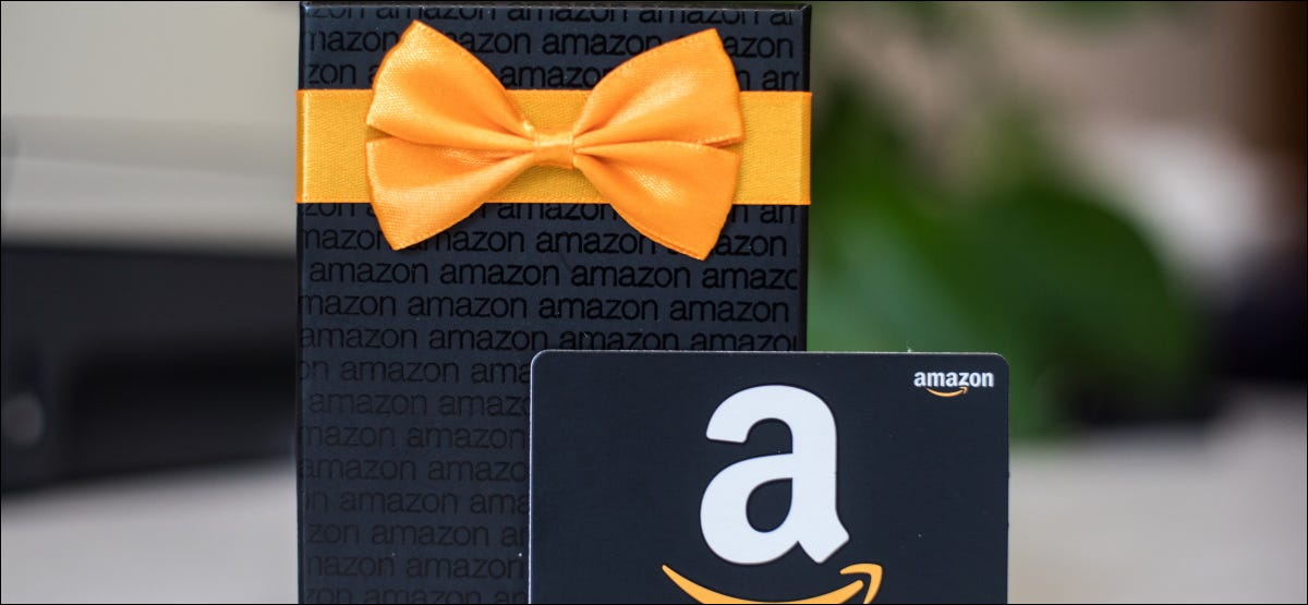A wrapped package and Amazon gift card.