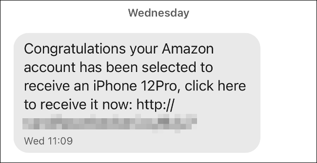 Spam message sent via signal
