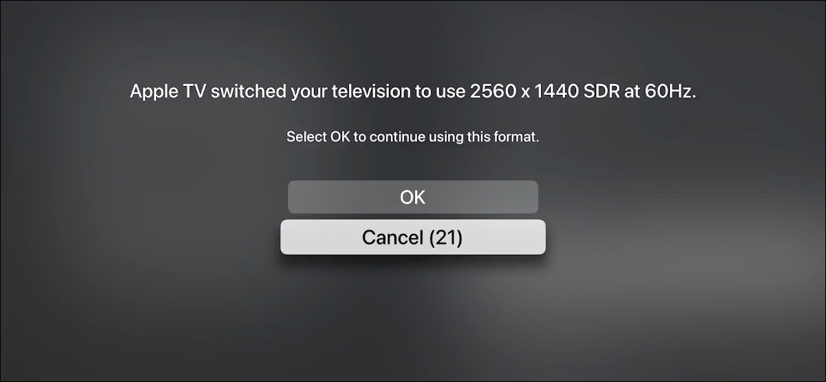 You can change the display resolution on Apple TV