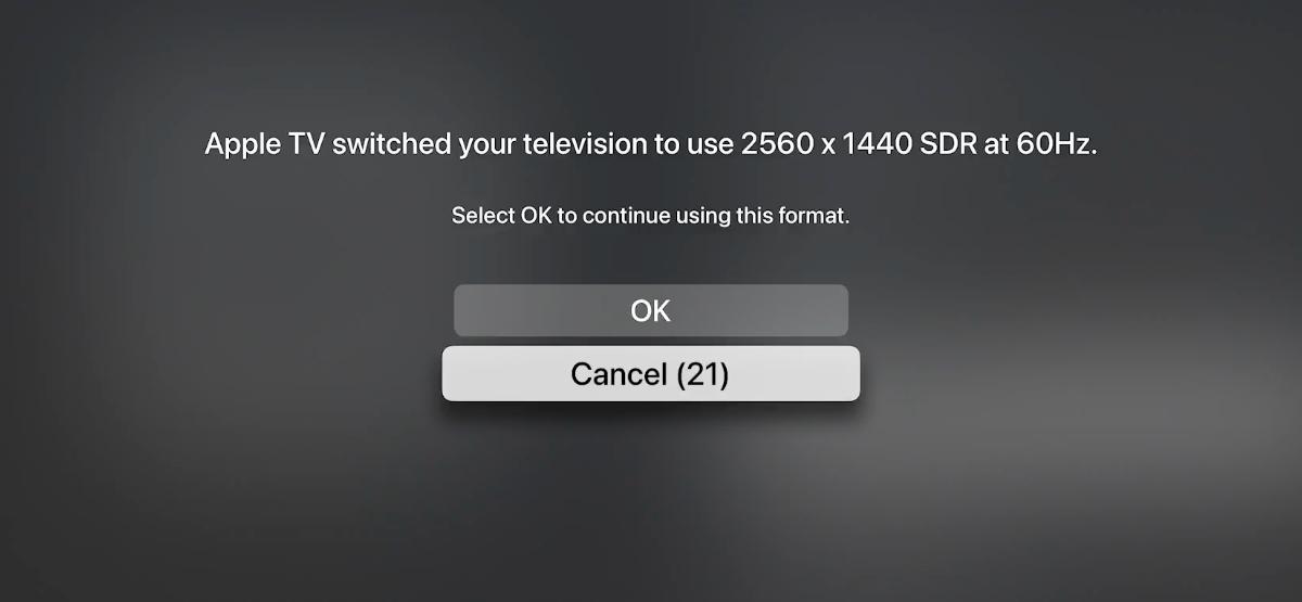 Вы можете изменить разрешение дисплея на Apple TV