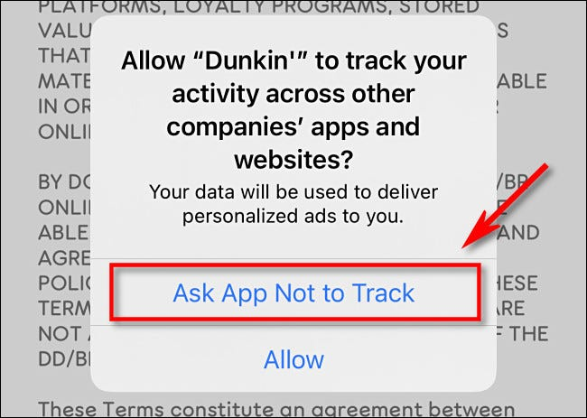 "Tap ""Ask App Not to Track."""