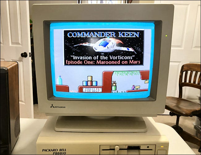 A Packard-Bell PC with a CRT monitor running Commander Keen.