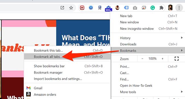 Главное меню в Chrome