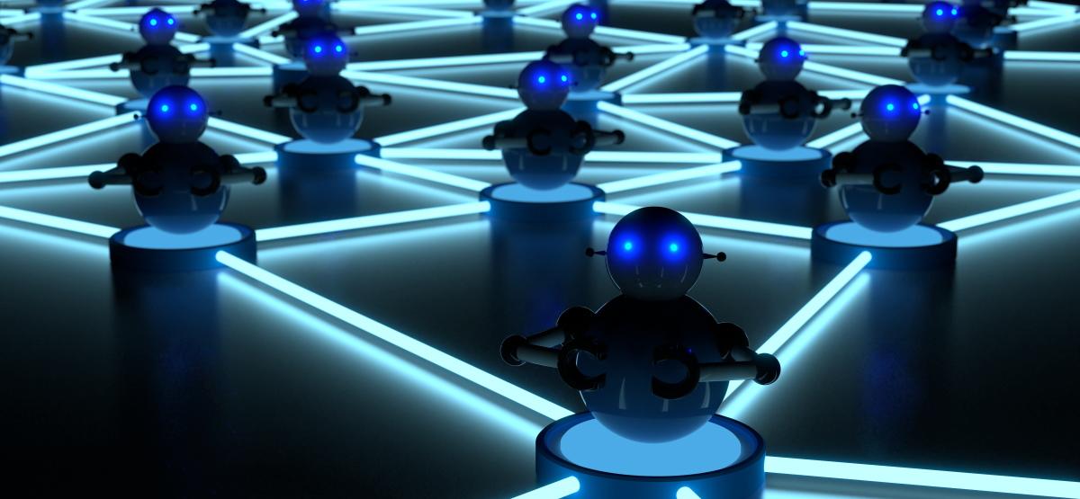 A network of small blue robots representing a botnet.