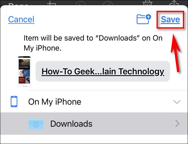 """Select a save location in Files and tap """"Save."""""""