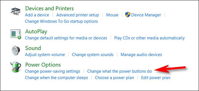 """In Hardware and Sound, click """"Change what the power buttons do."""""""