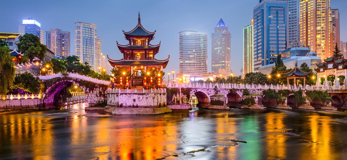 The Guiyang, China skyline at Jiaxiu Pavilion on the Nanming River.