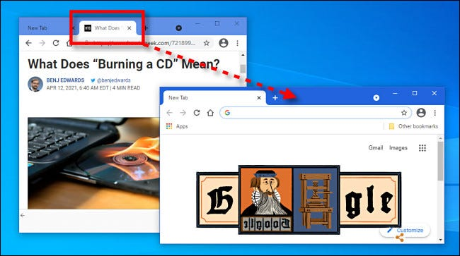 Dragging a tab between browser windows in Google Chrome.