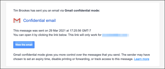 New confidential email notification