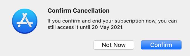 Confirm Cancellation via Mac App Store